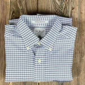 L.L. Bean Mens Oxford Shirt Blue White Button Down